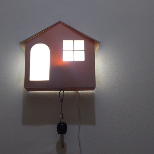Download STL files House shape with indoor light with magnetic key holder, MAyobe