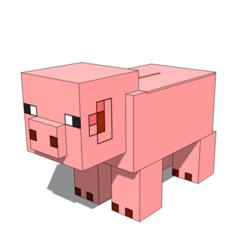 Download STL Minecraft Piggybank, Angel3dp