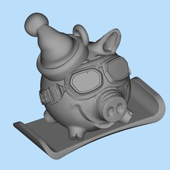 Télécharger fichier impression 3D gratuit Porc Surfeur des neiges, shuranikishin