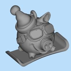Download free 3D printing models Pig Snowboarder, shuranikishin