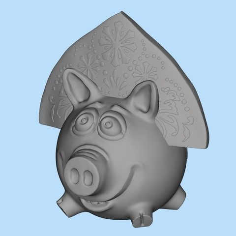 Download free 3D printer files Pig in kokoshnik, shuranikishin