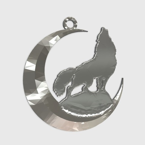 Download free 3D printer model wolf + moon keychain, shuranikishin