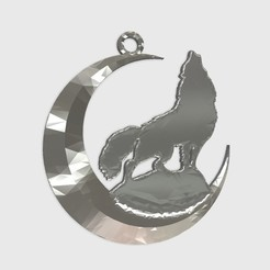 Download free 3D printer model wolf + moon keychain, shuranikishin