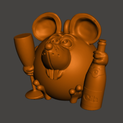 Download free 3D printer files Mouse with a bottle and a glass, shuranikishin