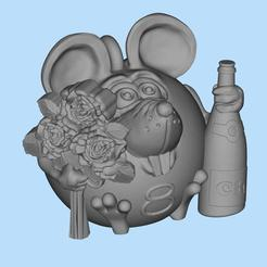 2020-02-28_15-14-06.jpg Download free STL file mouse with flowers for March 8 • 3D printer model, shuranikishin