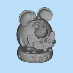 Imprimir en 3D gratis ratón sobre el queso, shuranikishin