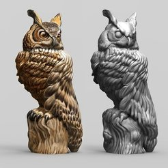 f276de780231a368457978d1726ab999_display_large.jpg Download free STL file Great Horned Owl • 3D printing object, bennettklein