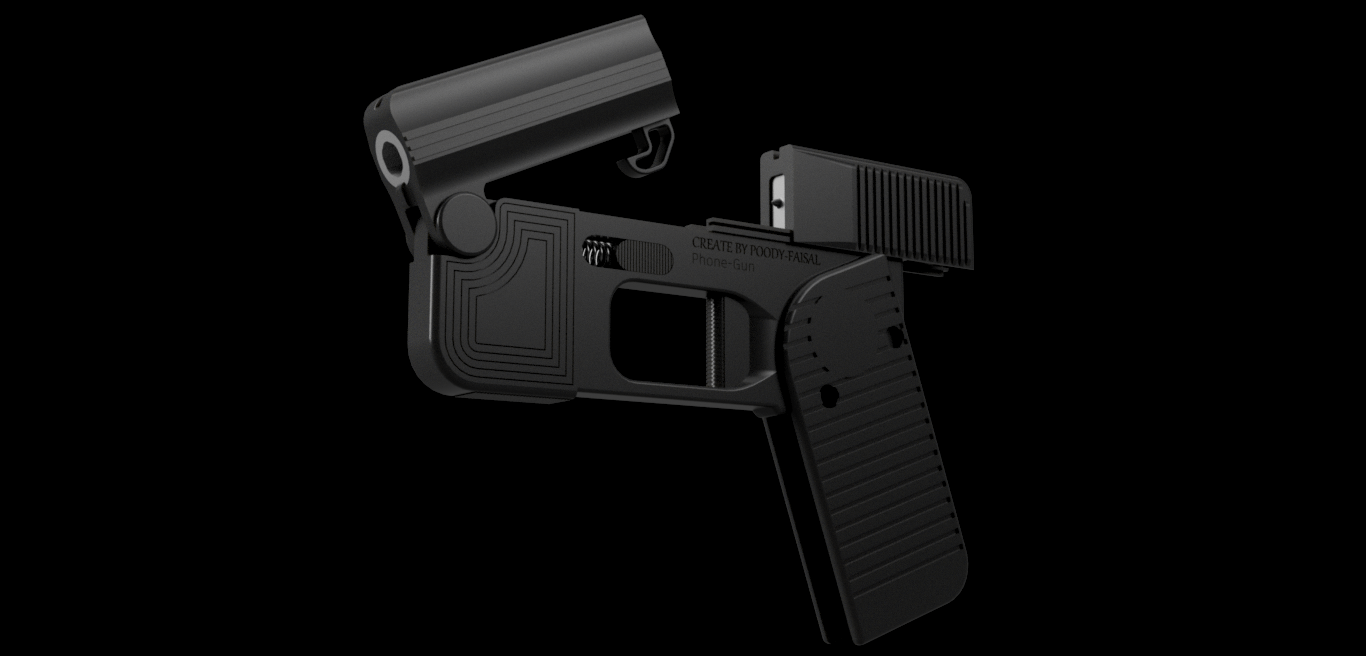2.png Download free STL file Phone Gun (Self-defense) Flodable 9mm single shot • 3D printing model, poodyfaisal