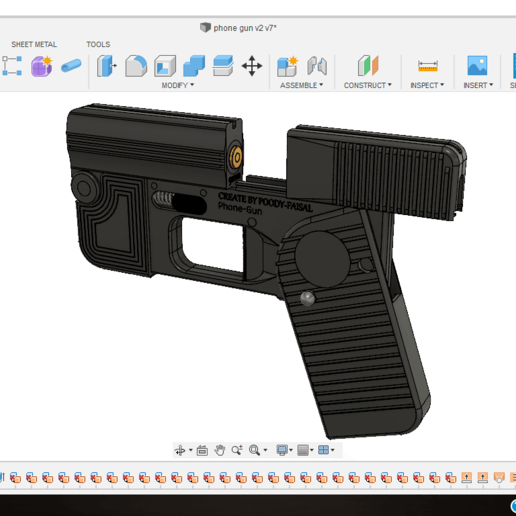 Download Free 3d Print Files Phone Gun Self Defense Flodable 9mm Single Shot Cults
