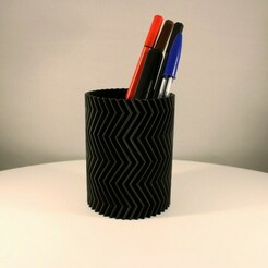 Zigzag Pencil Holder Slimprint 1.jpeg Télécharger fichier STL Porte-crayon en zigzag, impression en mode vase • Objet imprimable en 3D, Slimprint