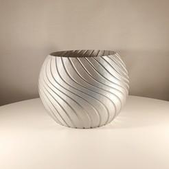 Silver Sweep Sphere Planter by SLimprint 1.jpg Télécharger fichier STL Balayage d'un planteur de sphère, (mode vase) • Design imprimable en 3D, Slimprint