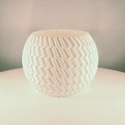 Sphere planter - zigzag 1.jpeg Télécharger fichier STL Planteur de sphère ZigZag - (Mode vase) • Objet à imprimer en 3D, Slimprint