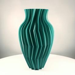 Zigzag Bulb Vase, Turquoise Green, Slimprint 1.jpeg Download STL file Zigzag Bulb Vase, (Vase Mode) • Design to 3D print, Slimprint