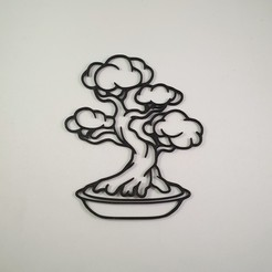 Download STL file Japanese Bonsai Tree - 2D Sculpture - Wall Decor, Slimprint