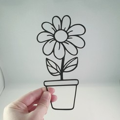 Download STL file Simple 2D Flower in Pot - Wall Art - Gift • 3D printable design, Slimprint