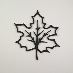 Download STL file Autumn Leaf (Maple) - 2D Sculpture - Wall Art • 3D printing template, Slimprint