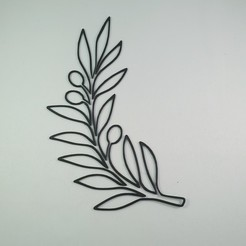 Download 3D printer files 2D Olive Tree Branch - Flower Decor - Wall art, Slimprint