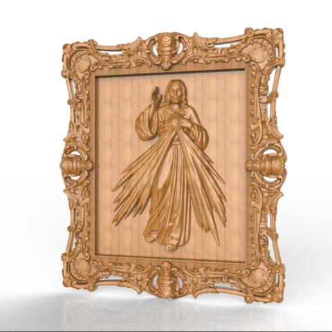 Download free STL jesus christ cnc frame art, STLmodelforfree