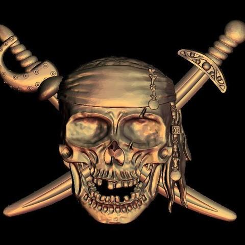28.jpg Download free STL file Pirate skull logo • 3D print design, STLmodelforfree