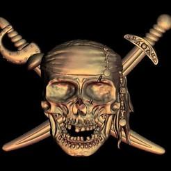 Télécharger objet 3D gratuit Logo du crâne de pirate, STLmodelforfree