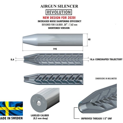 Download 3D printer model Silencer REVOLUTION caliber 30 195 mm, Swedish-silence