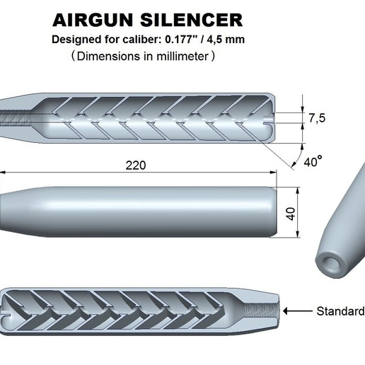 Download 3D printing designs Silencer superior caliber 177, Swedish-silence