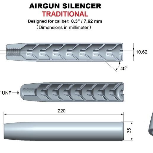 Download STL file Silencer traditional caliber 30, Swedish-silence