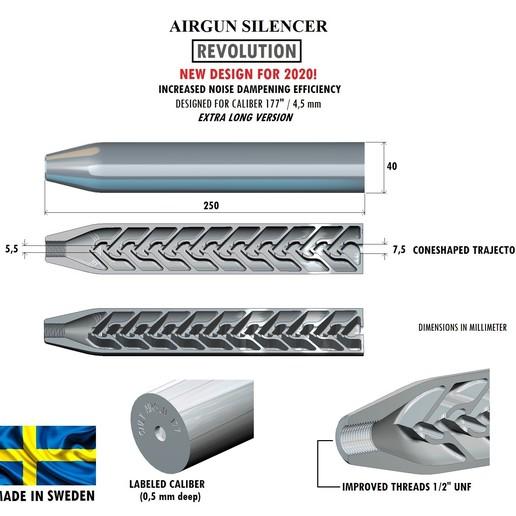 Download 3D printing files Silencer REVOLUTION caliber 177 250 mm, Swedish-silence