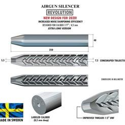 Télécharger fichier 3D Silencieux REVOLUTION calibre 177 250 mm, Swedish-silence