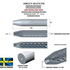 Télécharger fichier 3D Silencieux REVOLUTION calibre 177 195 mm, Swedish-silence