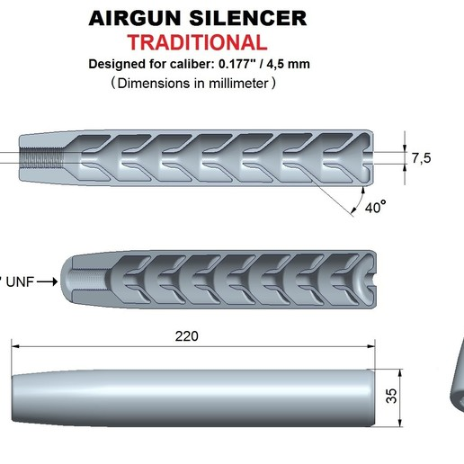Download 3D printer designs Silencer traditional caliber 177, Swedish-silence