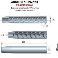 Télécharger fichier impression 3D Silencieux calibre traditionnel 177, Swedish-silence