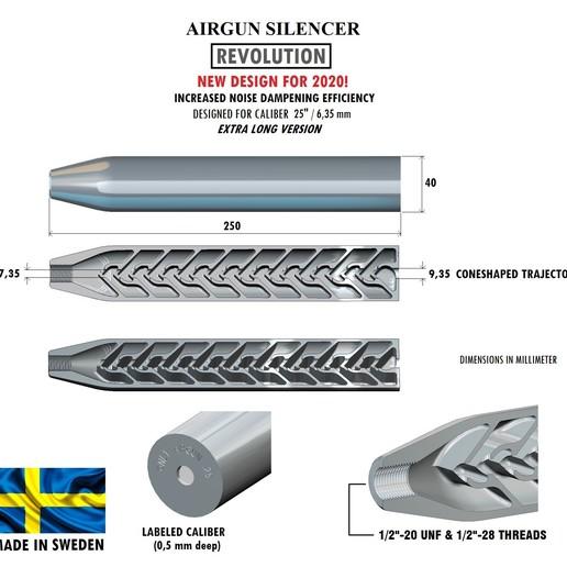 Download 3D printing files Silencer REVOLUTION caliber 25 250 mm, Swedish-silence