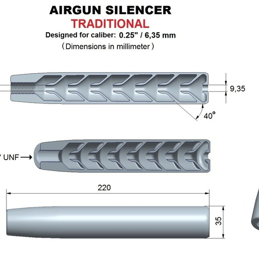 Download 3D printer designs Silencer traditional caliber 25, Swedish-silence