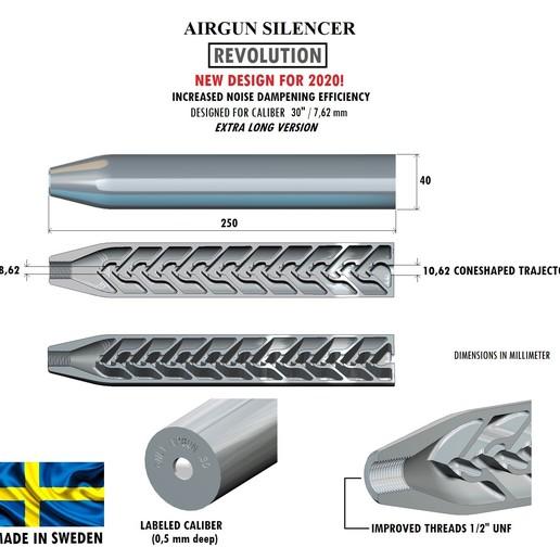 Download 3D printing models Silencer REVOLUTION caliber 30 250 mm, Swedish-silence