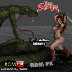 Download 3D model RED SONJA - Amazing Battle Diorama Printable, ROMFX
