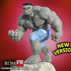 Descargar diseños 3D NUEVA VERSIÓN - ACTUALIZADA - Figura gris de Hulk imprimible, ROMFX
