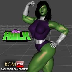 She-Hulk impressao01.jpg Télécharger fichier STL Figurine imprimable She-Hulk • Objet pour impression 3D, ROMFX