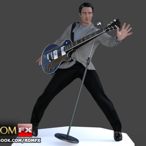 Download 3D printing templates ELVIS the King Figure Printable, ROMFX