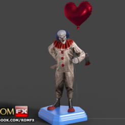 Download 3D printer templates The Evil Clown - A Creepy Figure Printable, ROMFX