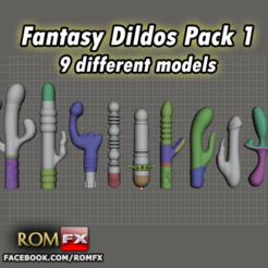Download 3D printing files Fantasy Dildos Pack 1 Printable 9 Different Models, ROMFX