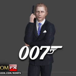 3D print model 007 James Bond Daniel Craig - Printable Figure, ROMFX