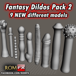 Download 3D printing designs Fantasy Dildos Pack 2 Printable 9 NEW Different Models, ROMFX