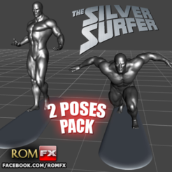 Download 3D model Silver Surfer Action Figure Printable 2 Poses BONUS, ROMFX