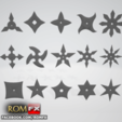 Free 3D printer files FREE - Shurikens Ninjas 15 stars models pack, ROMFX