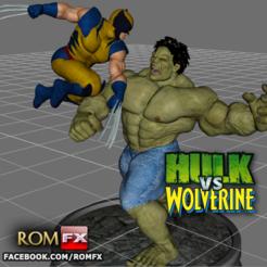 Descargar archivo 3D Hulk contra Wolverine el asombroso diorama, ROMFX
