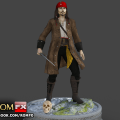 Download STL Captain Jack Sparrow - Pirates of the Caribbean 3d Figure Printable, ROMFX