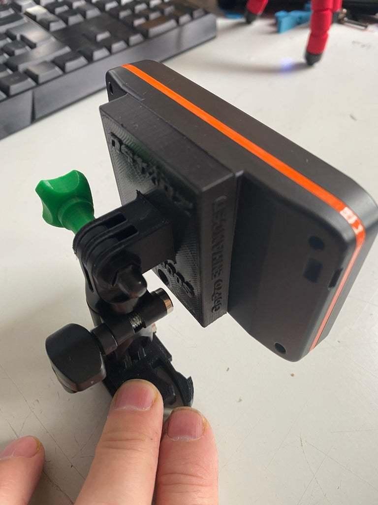IMG_0304.JPG Download free STL file QSTARZ LT-6000 to GoPro Mounting Plate • 3D printable template, helmuteder