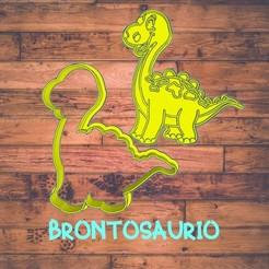 Diseño sin título-6.jpg Download STL file brontosaurio (dinosaur) cookie cutter / cortador de galleta de dinosaurio • 3D print model, Cutkie