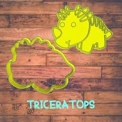 Diseño sin título-7.jpg Download STL file triceratops (dinosaur) cookie cutter / cortador de galleta de dinosaurio • 3D printer model, Cutkie